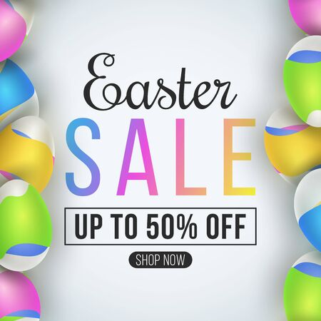 Easter big sale poster. Eggs with a pattern of colorful waves. Fluid design. Template for your business project. Special festive offer. Vector illustration. Illustration