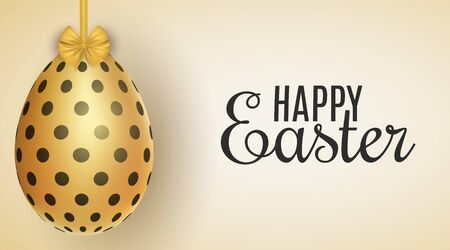Easter golden egg hanging on a bow with a pattern of black dots. Greeting card. Vector illustration.