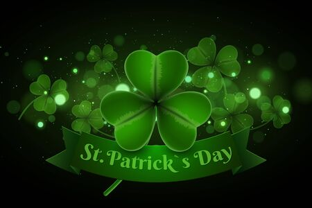 Saint Patrick's day background. Clovers with abstract lights bokeh. Banner ribbon with text. Green glitter. Vector illustration.