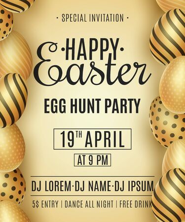 Easter party flyer. Golden eggs with a pattern. DJ and club name. Invitation greeting card. Festive template. Egg hunt. Vector illustration. Illustration