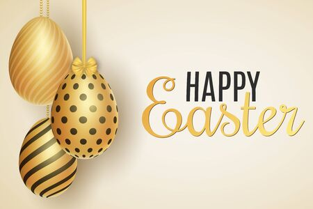 Easter festive template. Hanging eggs with a pattern. Greeting card. Vector illustration. Illustration