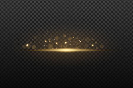 Flash light effect with bokeh glare. Gold glitter on a dark transparent background. Vector illusion.