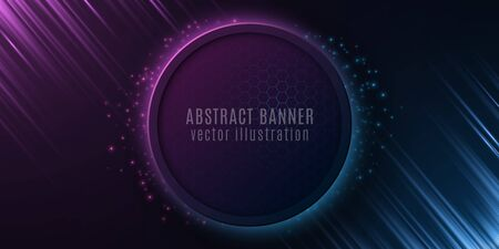 Abstract banner with honeycomb pattern and glowing rays. Futuristic design. Blue and purple light effect and flying particles. Vector illustration. Illustration