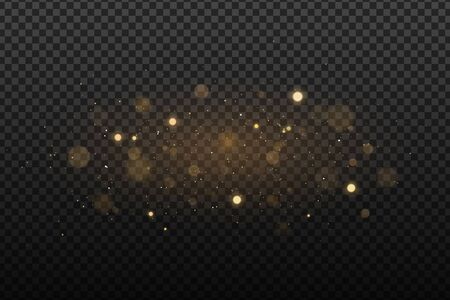 Abstract golden lights on a dark transparent background. Glares with flying glowing particles. Ligh effect. Vector illustration. Illustration