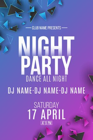 Night party poster. Purple and blue polygonal shapes. Club and DJ name. Geometric design from triangles. Disco invitation poster. Vector illustration.