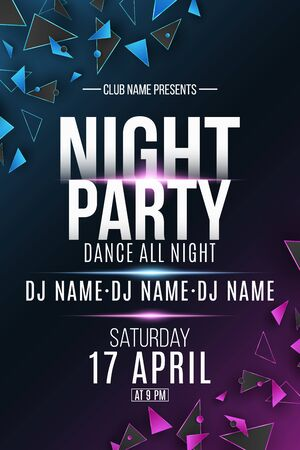 Night party flyer. Polygonal shapes. Club and DJ name. Purple and blue light effect. Geometric design from triangles. Disco invitation poster. Vector illustration.