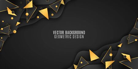 Geometric background for your design. Black and gold triangles and circles. Fluid design. Polygonal and wave shapes. Vector illustration. EPS 10 Illustration