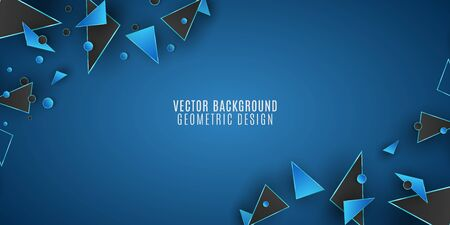 Geometric background for your design. Black and blue triangles and circles. Polygonal shapes. Vector illustration. EPS 10 Illustration