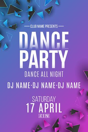 Flyer for Dance Party. Purple and blue polygonal shapes. Club and DJ name. Geometric design from triangles. Disco invitation poster. Vector illustration.