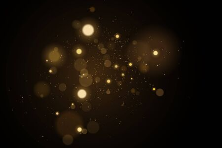 Abstract golden lights bokeh on a black background. Glares with flying glowing particles.   gold effect. Vector illustration.