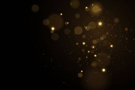 Lights bokeh on a black background. Glares with flying glowing particles.   gold effect. Vector illustration.