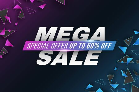 Template for Mega Sale. Business geometric design. Purple and blue random polygonal shapes. Abstract glowing triangles. Vector illustration.