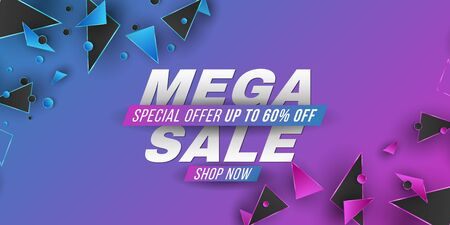 Mega Sale Banner. Template for your business design. Geometric design. Purple and blue random polygonal shapes. Abstract triangles. Vector illustration.