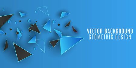 Geometric design background. Blue and black triangles and circles. Abstract polygonal shapes. Template for your project. Vector illustration. Illustration