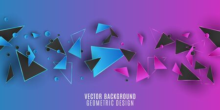 Geometric design background. Purple and blue triangles and circles. Abstract polygonal shapes. Template for your project. Vector illustration. 向量圖像