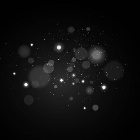 Lights bokeh on a black background. Glares with glowing particles. White light effect. Vector illustration.