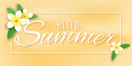 Summer banner. Tropical plumeria flowers on the beach. Stylish lettering for your design. Vector illustration. EPS 10.