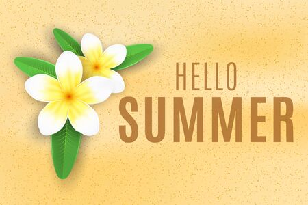 Summer background. Plumeria flowers on the sand beach. Seasonal cover for your design. Vector illustration.