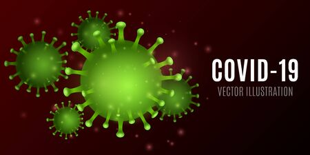 Abstract virus. 3D corona green microbe. Medical concept. Pathogen organism. Vector illustration. 向量圖像
