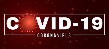 Coronavirus banner. COVID 19. 3D microbe with light effect and text. Medical concept. Sign and Symbol. Pathogen organism. Vector illustration.