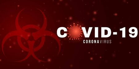 Coronavirus background and 3d microbe with light effect and text. Medical concept. Sign and Symbol. Pathogen organism. Vector illustration. 向量圖像