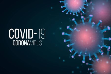 Covid 19 background and 3d microbe with light effect. Medical cover. Sign and Symbol. Pathogen organism. Vector illustration.