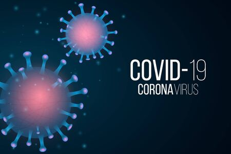 Covid 19 background. 3d microbe with light effect. Medical banner. Sign and Symbol. Pathogen organism. Vector illustration.