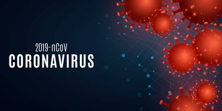 Coronavirus on a blue background with the effect of Plexus .Science banner for Covid 19. 3d pathogen organism. Vector illustration. 向量圖像