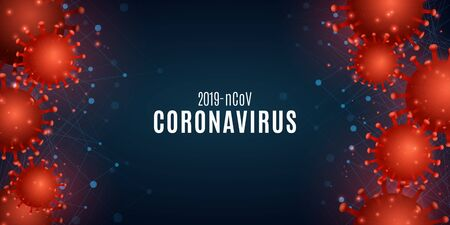 Coronavirus on a blue background with the effect of Plexus .Science banner for Covid 19. 3d pathogen organism. Medical poster. Vector illustration.