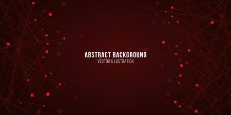 Geometric luminous plexus. Abstract futuristic background for your design. Vector illustration. Red glowing molecular structure. EPS 10.