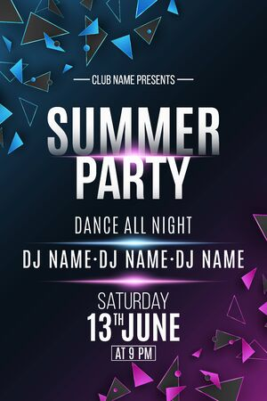 Poster for summer party. Polygonal shapes. Club and DJ name. Purple and blue light effect. Geometric design. Disco invitation flyer. Vector illustration.