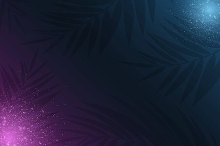 Summer seasonal background. Neon light effect and tropical palm tree. Glowing blue and purple magical dust. Vector illustration. 向量圖像