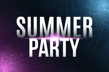 Summer party cover. Greeting card. Modern banner with neon light effect and tropical palm tree. Vector illustration. 向量圖像