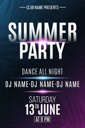 Summer party poster. Invitation flyer. Modern banner with neon light effect and tropical palm tree. DJ and club name. Vector illustration.