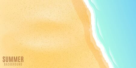 Sea sand beach and wave. Summer seasonal background for your design. Cartoon template. Vector illustration.