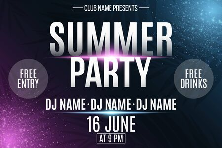 Summer party poster. Invitation flyer. Modern banner with neon light effect and tropical palm tree. Glowing purple and blue particles. DJ and club name. Vector illustration. 向量圖像