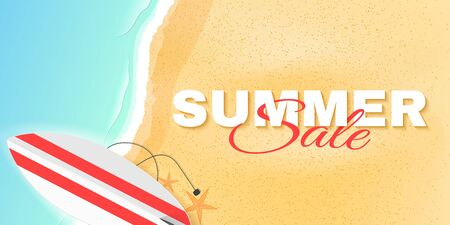 Summer sale poster with lettering. Beach and sea. Greeting card. Special offer template. Vector illustration.