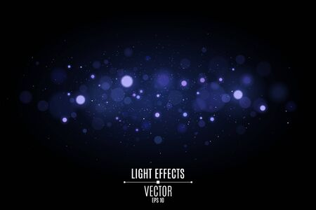 Abstract horizontal light effect bokeh isolated on black background. Bright blue glares. Colorful glitter. Flying magical dust for your project. Vector illustration.