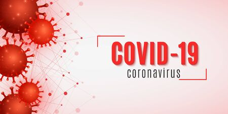 Coronavirus medical science banner. Covid 19 cover for medical design. Realistic 3D pathogen organism. Virus model. Vector illustration.