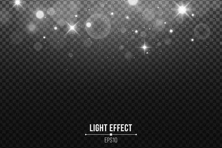 Abstract falling lights bokeh isolated on a dark transparent background. Shining white stars and glare. White glitter. Vector illustration. EPS 10
