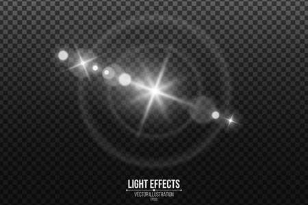 Lens effect isolated on a black transparent background. White glare and flare. Abstract lights bokeh. Realistic star footage. Vector illustration. EPS 10.