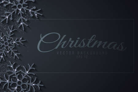 Christmas banner with silver glittering snowflakes on a dark background. Greeting card for your festive design. Vector illustration. EPS 10. Vector Illustration