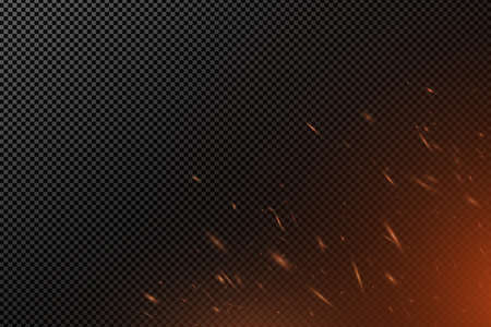 Realistic fire effect with particles on a transparent dark background. The flame sparkles. Dust from the fire. Vector illustration. EPS 10.