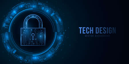 Security lock and sci-fi user interface with HUD elements. Password protection of computer system data. Glowing blue motherboard circuit on a dark background. Vector illustration. EPS 10.