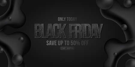 Elegant brutal business banner for Black Friday sale. Commercial discount event. Liquid dynamic black shapes with balls and glittering text on a dark background. Vector illustration.