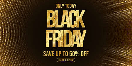 Luxury poster for Black Friday sale. Elegant business banner. Commercial discount event. Golden glittering text with halftone background. Vector illustration. Иллюстрация