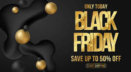 Black Friday sale banner. Elegant business poster. Commercial discount event. Liquid dynamic shapes and golden glittering text on a black background. Vector illustration. Иллюстрация