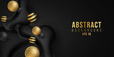Elegant abstract stylish golden and black 3d dynamic liquid shapes with glittering balls. Trendy background for your design. Fluid style. Vector illustration. EPS 10