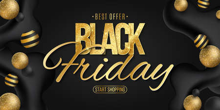 Elegant golden glittering lettering for Black Friday sale. Commercial discount business event. Liquid dynamic shapes with volumetric balls. Vector illustration. EPS 10