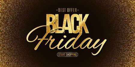 Luxury glittering lettering for Black Friday sale. Elegant business banner. Commercial discount event. Special offer. Golden halftone pattern or background. Vector illustration. EPS 10